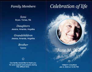 sky theme funeral program templates
